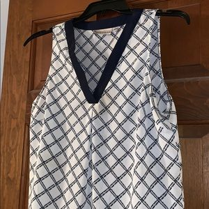 Kenar tank top large navy and white